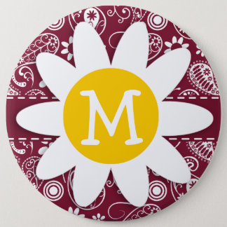 Claret Paisley; Floral; Daisy Pinback Button