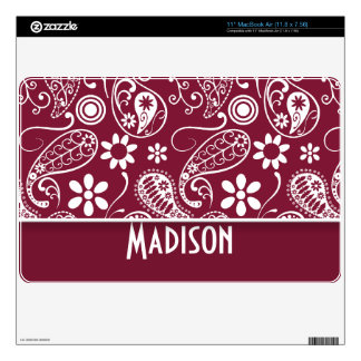 """Claret Paisley; Personalized Skin For 11"""" MacBook Air"""