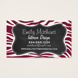 Animal print business cards templates zazzle claret zebra stripes animal print chalkboard look business card colourmoves Images