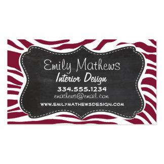 Claret Zebra Stripes Animal Print; Chalkboard look Business Cards