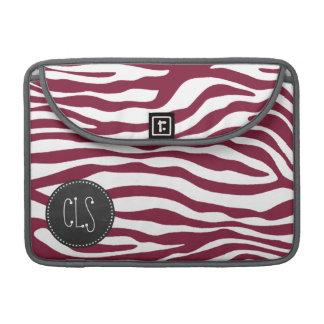 Claret Zebra Stripes Animal Print; Chalkboard look Sleeves For MacBook Pro