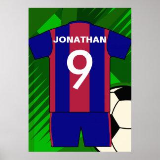 Clarete de encargo y jersey de fútbol azul del póster