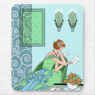 Clarice's Letter - Art Deco Fashion Design Mouse Pad