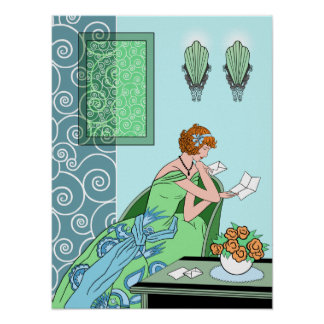 Clarice's Letter - Art Deco Fashion Design Poster