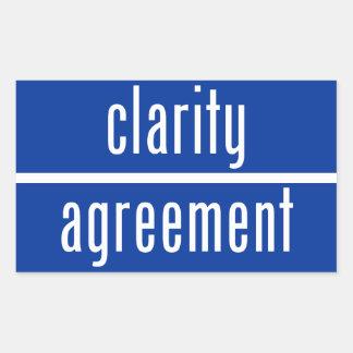 Claridad sobre el pegatina rectangular del acuerdo