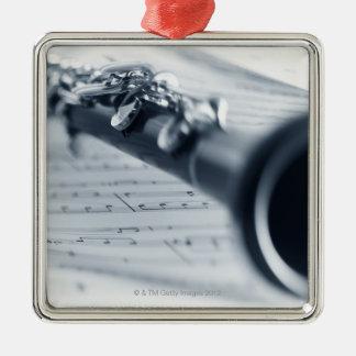 Clarinet Adorno Navideño Cuadrado De Metal