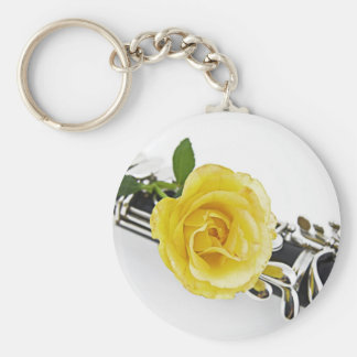Clarinet and Yellow Rose Keychain