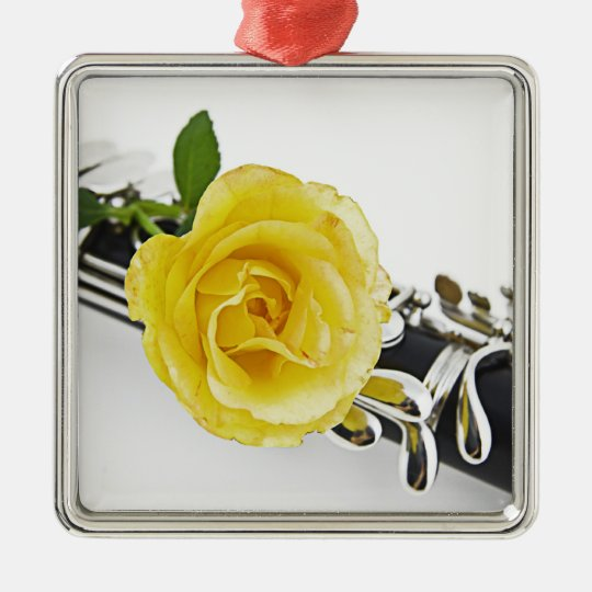 Clarinet and Yellow Rose Ornament