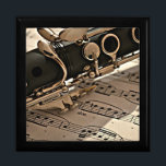 "Clarinet Closeup Gift Box<br><div class=""desc"">Clarinet closeup with sheet music trinket box.  VIRGINIA5050,  custom-designed products and gifts at www.zazzle.com/virginia5050*,  PAUL KLEE GIFT SHOP at www.zazzle.com/paulkleegiftshop*,  INTERNATIONAL GIFTS at zazzle.com/InternationalGifts.</div>"