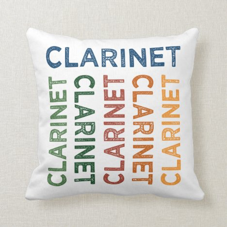 Clarinet Colorful Throw Pillow