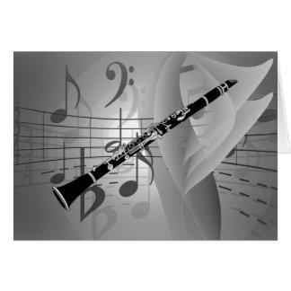 Clarinet con acentos musicales tarjeta pequeña