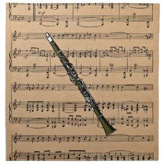 Clarinet con el fondo de la partitura servilletas