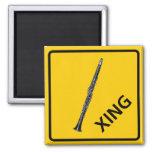 Clarinet Crossing Highway Sign Fridge Magnet