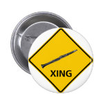 Clarinet Crossing Highway Sign Pinback Buttons