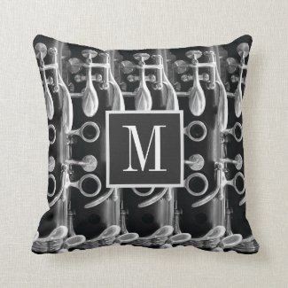 Clarinet Custom Monogram Black White Gray Photo Throw Pillow