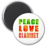 Clarinet del amor de la paz imanes de nevera
