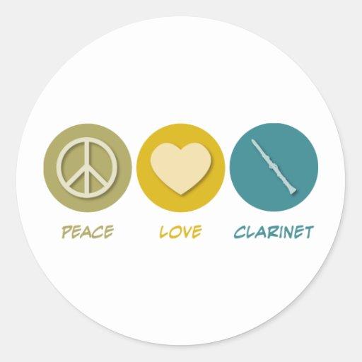 Clarinet del amor de la paz pegatina redonda