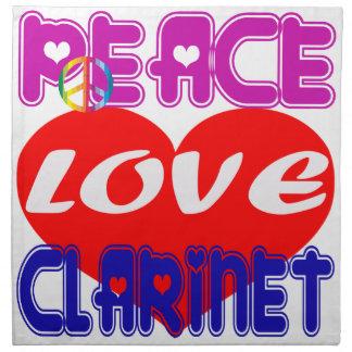 Clarinet del amor de la paz servilleta de papel