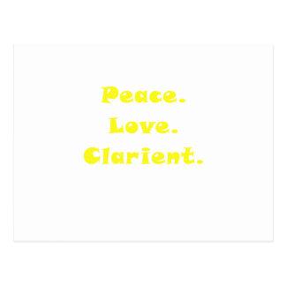 Clarinet del amor de la paz tarjetas postales