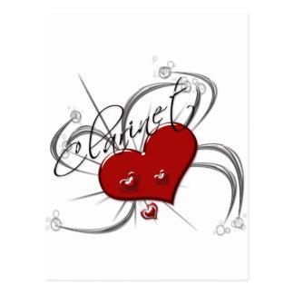 Clarinet del amor tarjeta postal