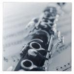 Clarinet detallado azulejo cuadrado grande