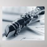 Clarinet en las hojas de música póster