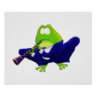 Clarinet Frog Art Print print