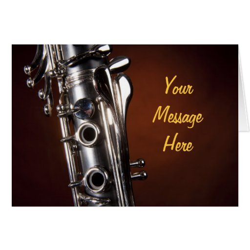 Clarinet Gift on Gold Spotlight Background Greeting Card