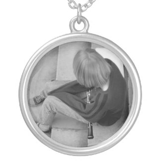 Clarinet Girl Player on Steps with Tuner and Music Round Pendant Necklace
