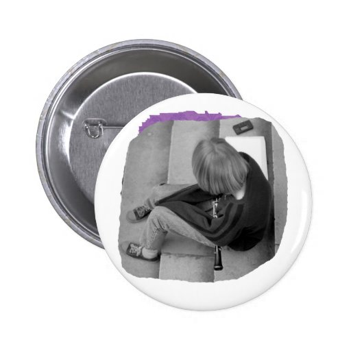 Clarinet Girl Player Steps with Tuner and Music Pinback Buttons