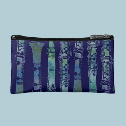 Clarinet Keys in Blue Green Cosmetic Bag