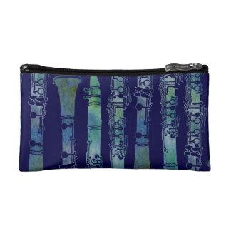 Clarinet Keys in Blue Green Makeup Bag