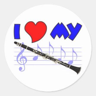 Clarinet Love Classic Round Sticker