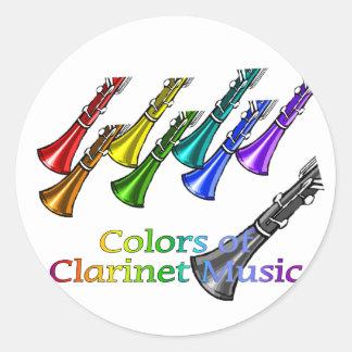 Clarinet music classic round sticker