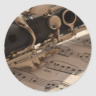 Clarinet musical instrument with notation classic round sticker