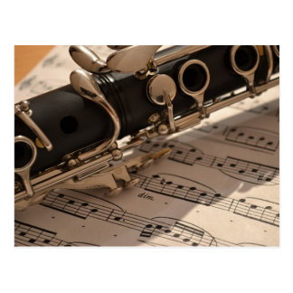 Clarinet musical instrument with notation postcard
