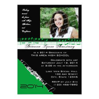 Clarinet Musician Graduate Green Personalized Invitations