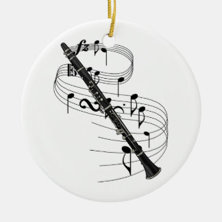 Clarinet Double-Sided Ceramic Round Christmas Ornament