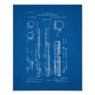 Clarinet Patent - Blueprint Poster