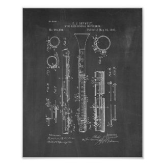 Clarinet Patent - Chalkboard Poster