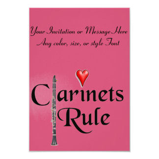 Clarinet player musician card or invitation ANY CO