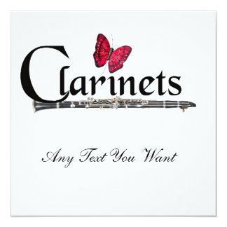 Clarinet Player Musician Invitation Cards ANY COLO