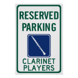 Clarinet Players Parking Poster