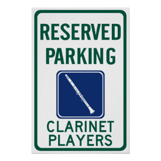 Clarinet Players Parking Posters