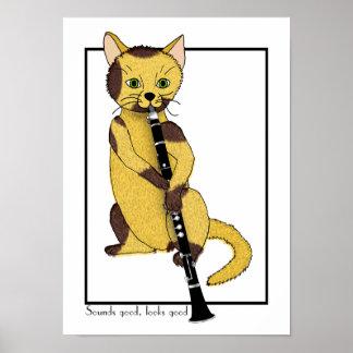 Clarinet Puss Poster
