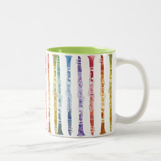 Clarinet Rainbow Wrap Two-Tone Coffee Mug