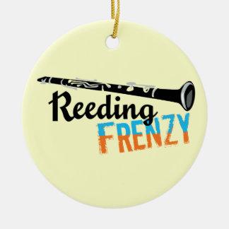 Clarinet Reeding Frenzy Double-Sided Ceramic Round Christmas Ornament
