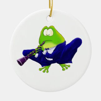 Clarinet Solo Frog Double-Sided Ceramic Round Christmas Ornament