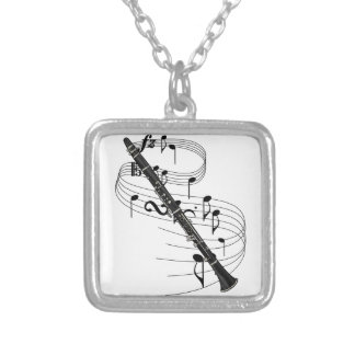Clarinet Square Pendant Necklace