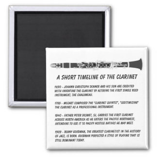 Clarinet Timeline 2 Inch Square Magnet